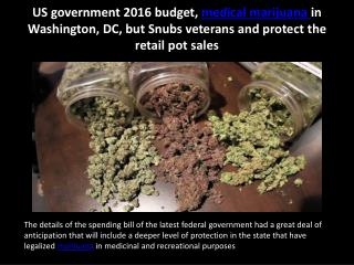 US government 2016 budget, medical marijuana in Washington, DC, but Snubs veterans and protect the retail pot sales