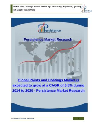 Paints and Coatings Market : Size, share, Trends Analysis to 2020