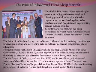 The Pride of India Award For Sandeep Marwah