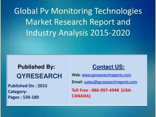 Global Pv Monitoring Technologies Market 2015 Industry Development, Research, Forecasts, Growth, Insights, Outlook, Stud