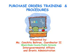 PURCHASE ORDERS TRAINING   PROCEDURES