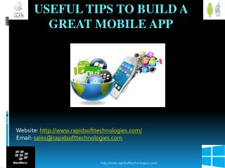 Useful Tips To Build A Great Mobile App