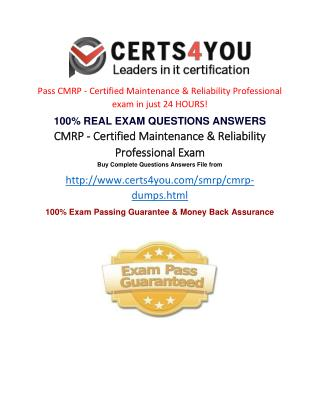 Where can i get the latest exam questions of CMRP?
