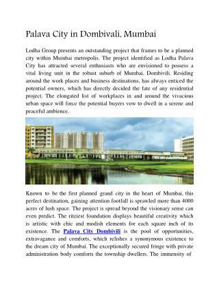 Palava City in Dombivali, Mumbai