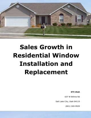 Sales Growth in Residential Window Installation and Replacement
