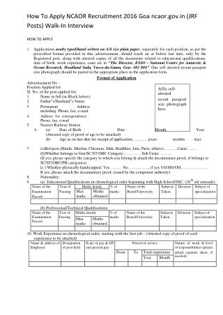 How to Apply NCAOR Recruitment 2016 Goa Ncaor.gov.in (JRF Posts) Walk-In Interview
