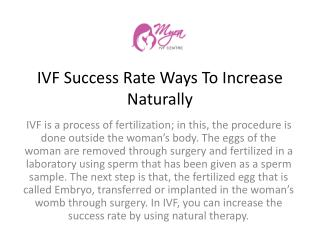 IVF Success Rate Ways To Increase Naturally