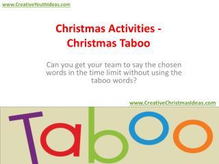 Christmas Activities - Christmas Taboo