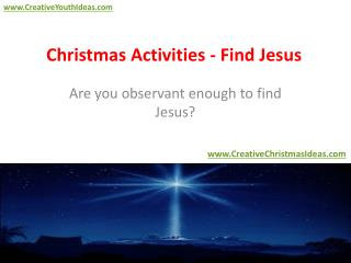 Christmas Activities - Find Jesus
