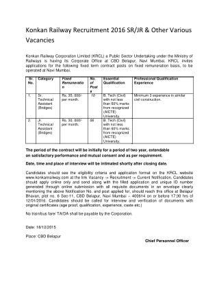 Konkan Railway Recruitment 2016 SR-JR & Other Various Vacancies