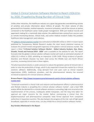 Global E-Clinical Solution Software Market to Reach US$6.8 bn by