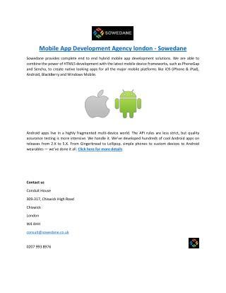 Mobile App Development Agency london - Sowedane