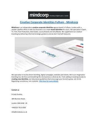 Creative Corporate Identities Fulham - Mindcorp