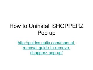 How to Uninstall SHOPPERZ Pop up