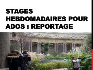 Stages hebdomadaires pour ados  REPORTAGE