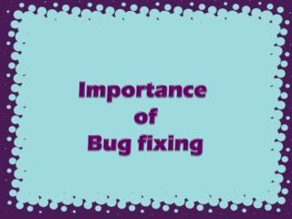 Importance of Bug fixing