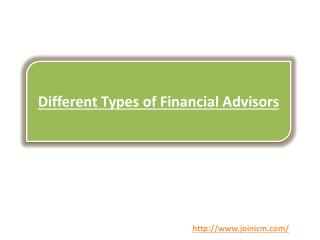Different Types of Financial Advisors