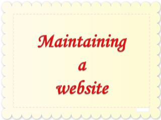 Maintaining a website