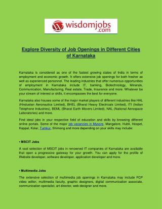 Explore Diversity of Job Openings in Different Cities of Karnataka