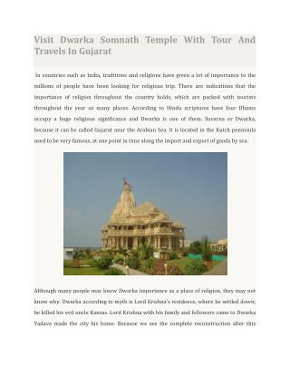 Visit Dwarka Somnath Temple With Tour And Travels In Gujarat