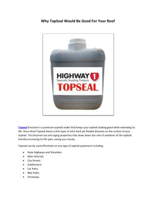 Why TopSeal Would Be Good For Your Roof
