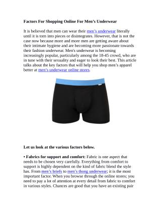 Factors For Shopping Online For Men's Underwear
