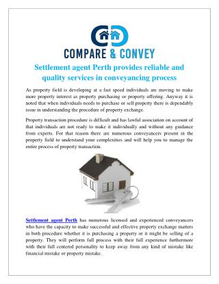 Settlement agent Perth provides reliable and quality services in conveyancing process