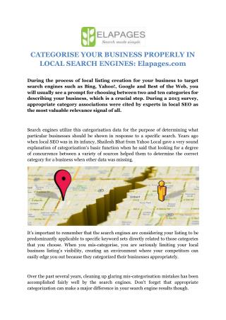 CATEGORISE YOUR BUSINESS PROPERLY IN LOCAL SEARCH ENGINES: Elapages.com