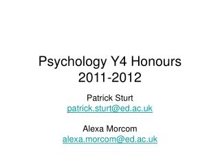 Psychology Y4 Honours 2011-2012