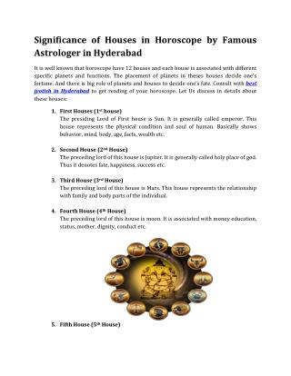 Significance of Houses in Horoscope by Famous Astrologer in Hyderabad