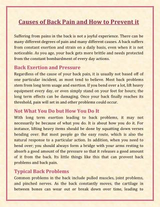 Causes of Back Pain and How to Prevent it