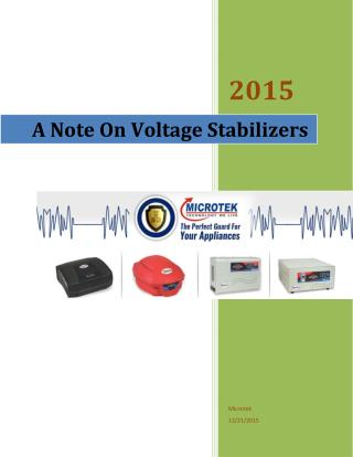 A Note On Voltage Stabilizers