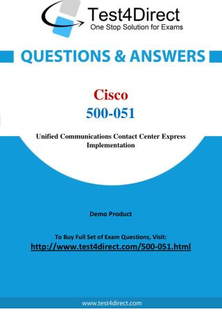 Cisco 500-051 Specialist Real Exam Questions
