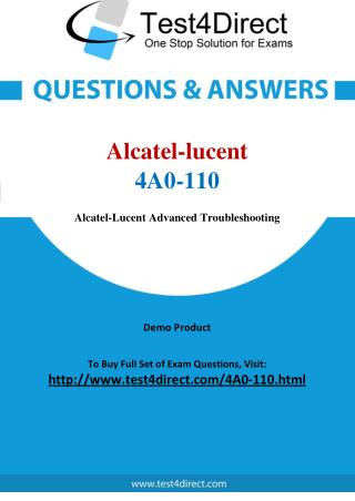 Alcatel lucent 4A0-110 SRA Real Exam Questions
