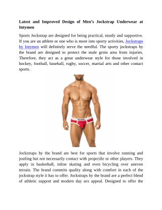 Latest and Improved Design of Men's Jockstrap Underwear at Intymen