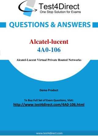 Alcatel lucent 4A0-106 Test Questions
