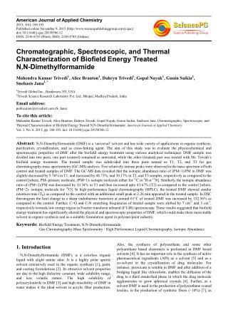 Biofield | Impact on Properties of  N,N-Dimethylformamide