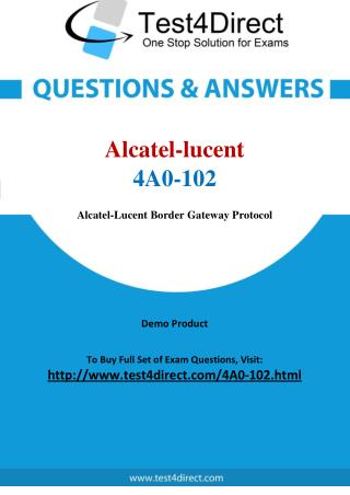 Alcatel lucent 4A0-102 Test Questions