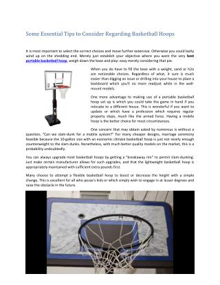 Some Essential Tips to Consider Regarding Basketball Hoops