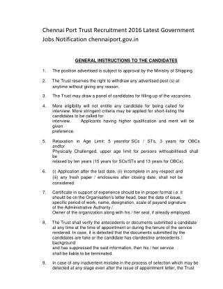 Chennai Port Trust Recruitment 2016 Latest Government Jobs Notification Chennaiport.gov.In
