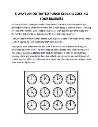 5 Ways An Outdated Punch Clock Is Costing Your Business