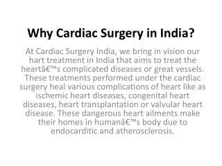 Why Cardiac Surgery in India?