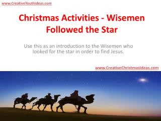 Christmas Activities - Wisemen Followed the Star