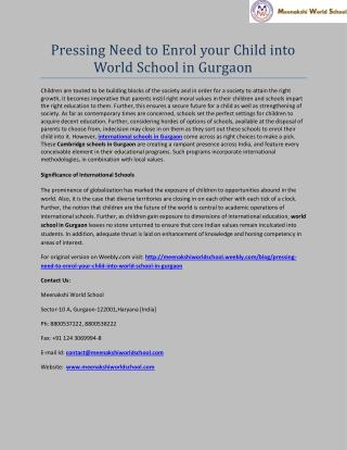 Pressing Need to Enrol your Child into World School in Gurgaon