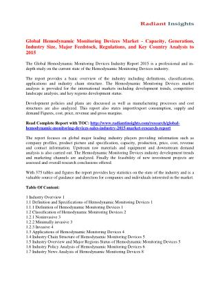 Hemodynamic Monitoring Devices Market Size, Share, Analysis And Forecasts To 2015