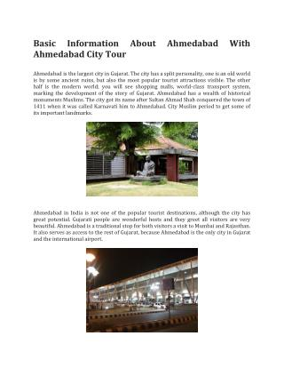 Basic Information About Ahmedabad With Ahmedabad City Tour