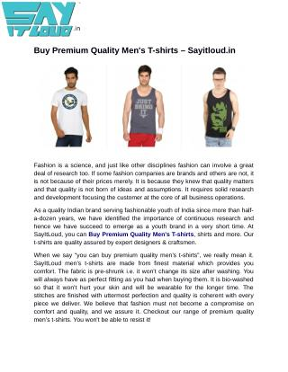 Buy Premium Quality Men's T-shirts – Sayitloud.in