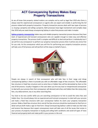ACT Conveyancing Sydney Makes Easy Property Transactions