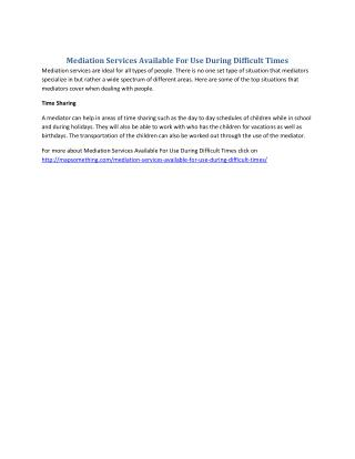 Mediation Services Available For Use During Difficult Times