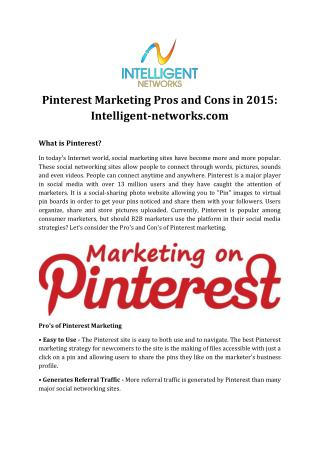 Pinterest Marketing Pros and Cons in 2015: Intelligent-networks.com